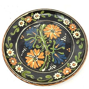 Vtg Redware Hanging Pottery Plate Hand Painted Floral Decorative Germany 10.5in