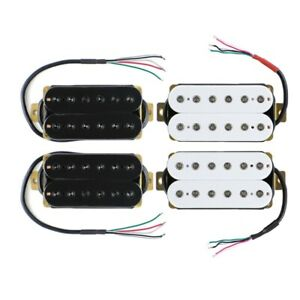 White-Black-Electric-Guitar-Humbucker-Pickup-Set-or-Neck-Bridge-Pickup-Hex-Poles