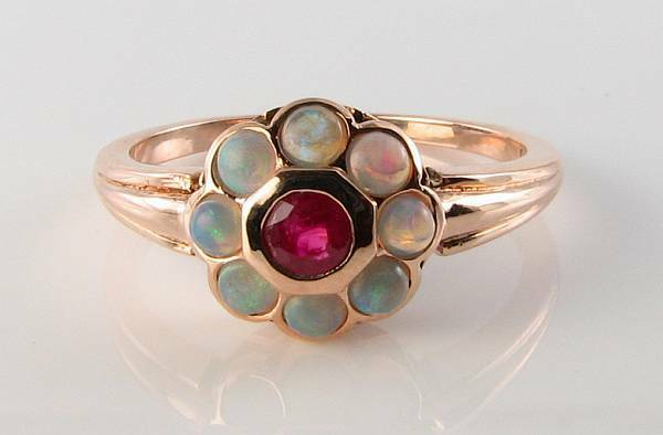 CLASS 9CT 9K pink gold INDIAN RUBY & OPAL DAISY ART DECO INS RING FREE RESIZE