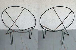 Merveilleux Image Is Loading 2 Vintage Wrought Iron Modern Hoop Chair Frames