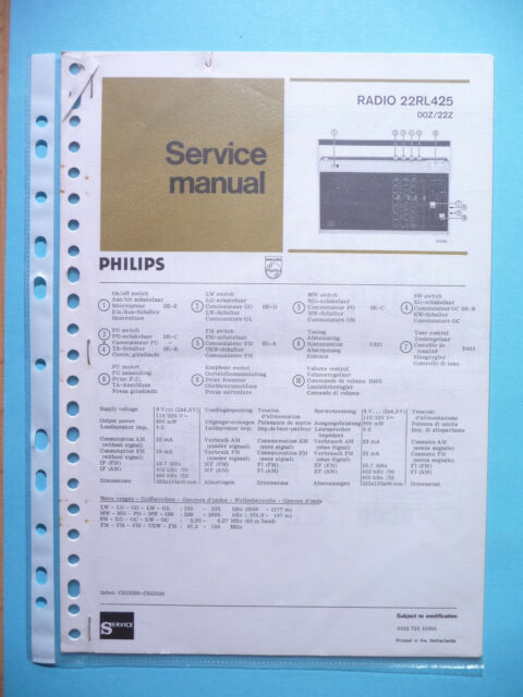 Service Manual Instructions for Philips 22 Rl 425, Original
