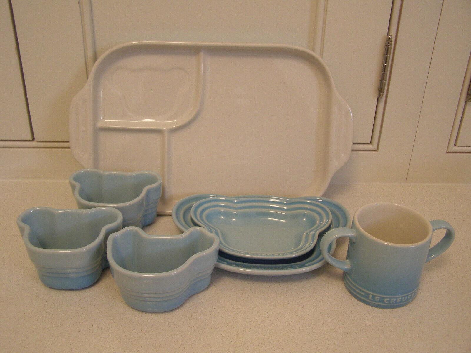 Le Creuset grès Bébé Vaisselle Set, bleu pastel, nouveau