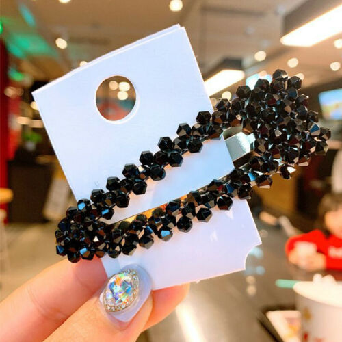 Women/'s Slide Snap Hair Clips Barrette Grips Hairpin Crystal Bobby Pins