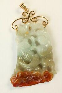 VTG 14k Gold Carved Natural Jadeite Jade Pendant Dancing Boy And Fish Carving