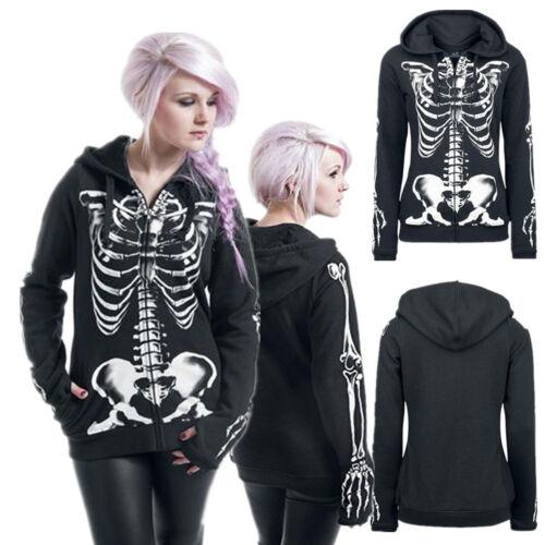 Damen Halloween Gothic Punk Hoodie Sweatshirt Langarm Kapuze Mäntel Pullover Top