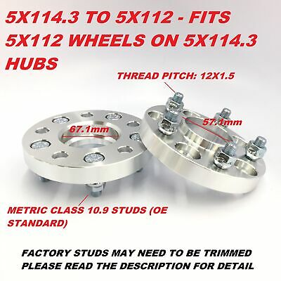 2 Pairs of Hubcentric 20mm PCD Adapters 5x120 to 5x112 for /Àlpina D3 Alloys PN.SFP-4AD08133