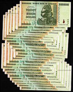 Image Is Loading 25 X 20 Billion Zimbabwe Dollars Bank Notes