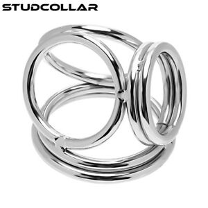 Three Sizes! Able Studcollar-quadra-cage Shiny Welded Four Ring Metal Penis Cage High Resilience