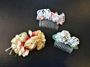 VTG Lot (3) 60's Millinery Flowers Hair Combs