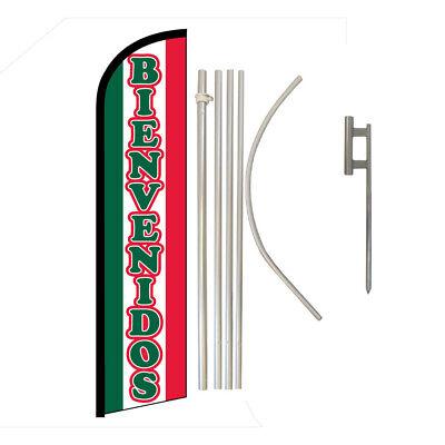 "welcome /""BIENVENIDOS/"" super flag swooper banner advertising"