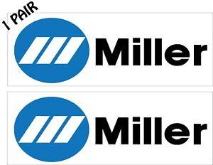 Miller Welding decal//sticker Logo blue and white 1x3 p165 Pair 2