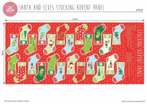 Christmas Fabric Advent Calendar Panels Stockings or Gift Bags 100/% Cotton