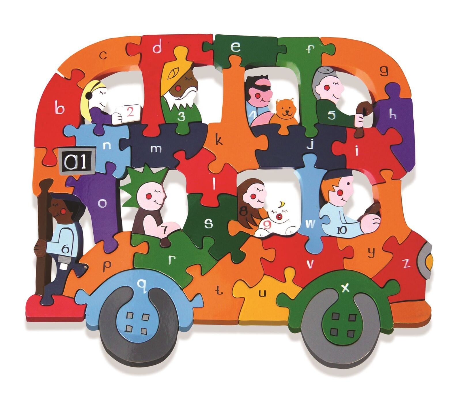 Alphabet Jigsaws - Wooden abc Numbers Puzzle - Alphabet Bus - Chunky & Bright