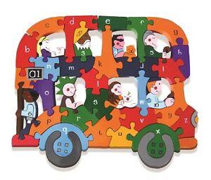 Franc Alphabet Jigsaws Bois - Abc / Numéros Puzzle Alphabet - Bus - Chunky & Brillant