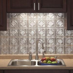 Details about Kitchen Backsplash Decorative Vinyl Panel Wall Tiles Bathroom  Plastic Tin Silver