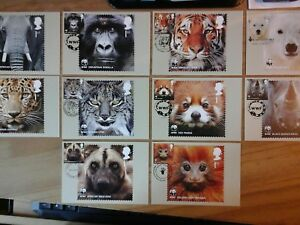 2011 WORLD WILDLIFE FUND PHQ 348 10 STAMP CARDS FDI FRONT PICT H/S DESCRIBED