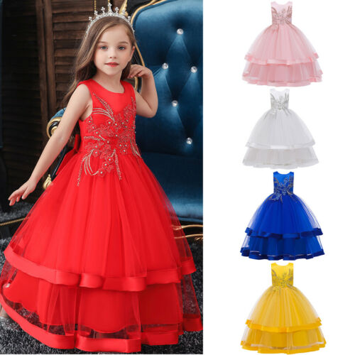 Dresses Girls Ball Gown Dress Wedding Princess Party Prom Birthday For Kids Age 3 12 Binaservice Co Id