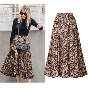 Plus Size Leopard Print Animal Skirts Dresses Long Pleated