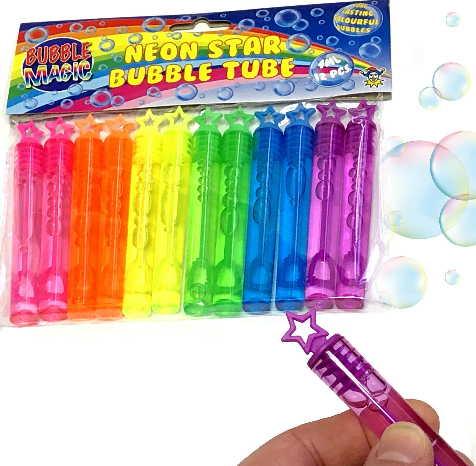 12 x Bubbles Wands Tube NEON Rainbow Stars Children/'s Party Birthday Bag fillers