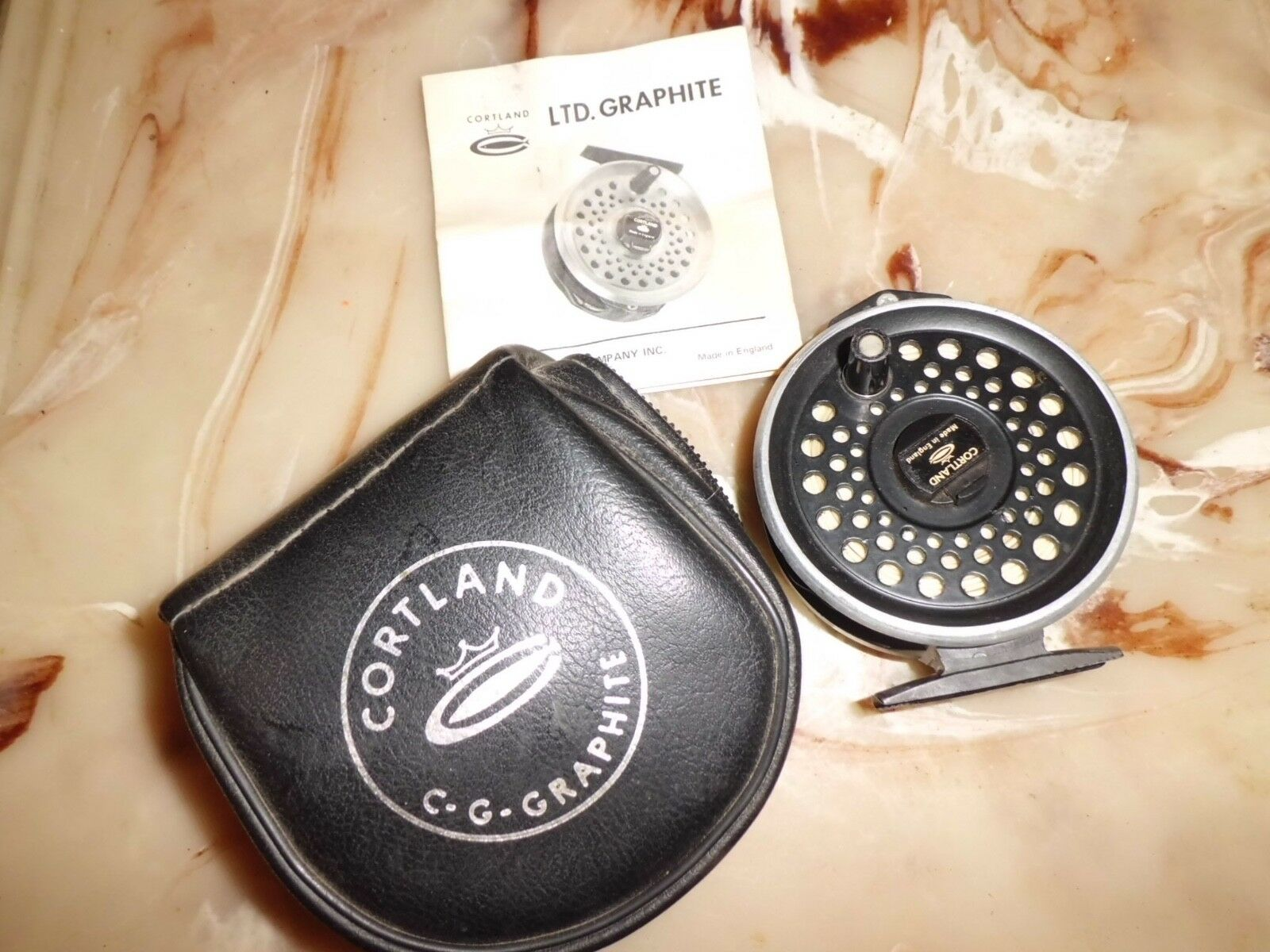 Cortland LTD Graphite Single Action Action Single Fly Reel made in England f2905b