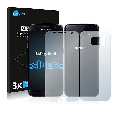 6x Savvies Displayschutzfolie Samsung Galaxy S7 (Vorder + Rückseite)