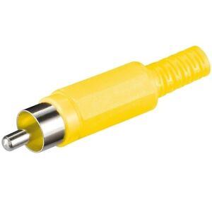 Video-Chinch-Cinch-RCA-Stecker-gelb-zum-selbst-loeten-Loetversion-schraubbar