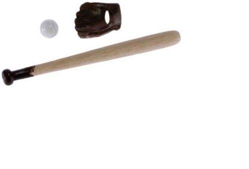 3pc #IM65314 /& Glove Ball Dollhouse Miniatures 1:12 Scale Baseball Bat