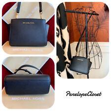 Michael Kors Selma Mini Leather Crossbody Bag Black gold 35h8glmc0l ... 7a99fc900e125