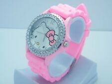 USA Seller Silicone Hello Kitty cat with diamonds Watch For children