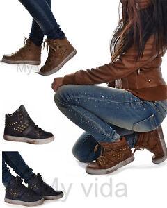 Scarpe donna sportive sneakers stivaletti strappi borchie lacci mod B 3 nF7pCfRN