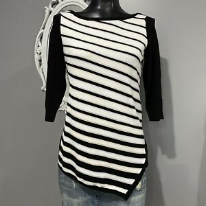 Small-Womans-WHITE-HOUSE-BLACK-MARKET-Striped-Assymetical-Hem-Sweater