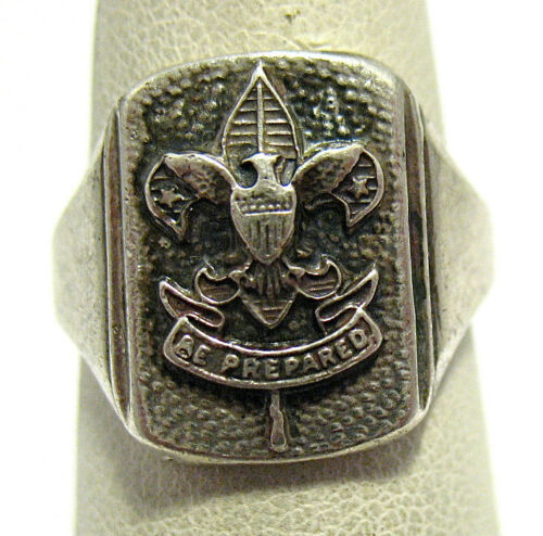 BOY SCOUTS Sterling Silver Ring BE PREPARED RING SIZE 6.5 5.3 GRAMS SYBOLL