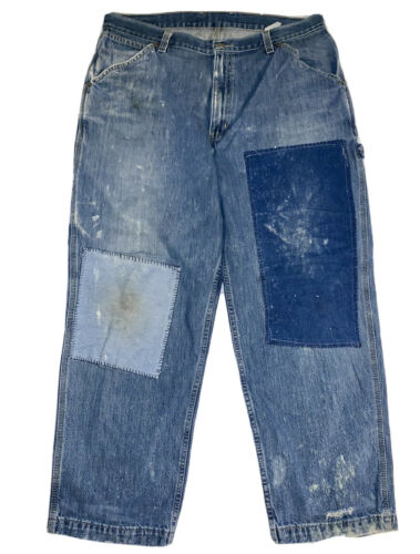 Patched Denim Ripped Repaired Jeans 38X30 Work Wea