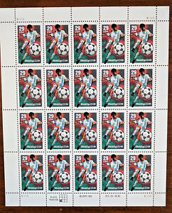 #2834 – World Cup 1994 Stamps Full Sheet of 20 Soccer Player Kicking - 1994 29c