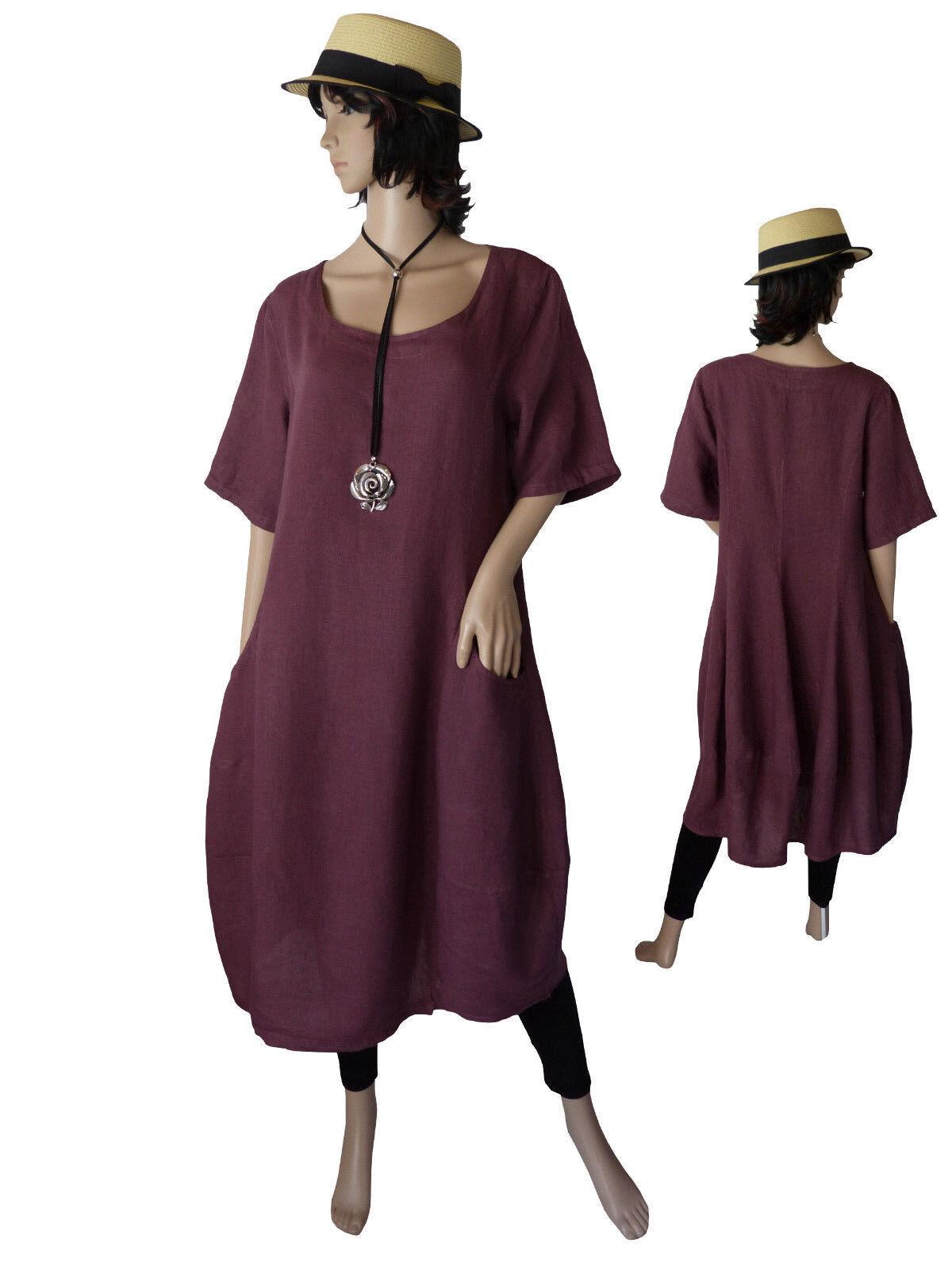 Gr.40 - 50 Kleid Leinenkleid Sommerkleid Kurzarmkleid Beere Italien LAGENLOOK