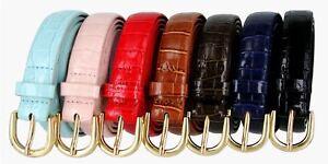 Women-039-s-Skinny-Thin-Alligator-Embossed-Genuine-Leather-Belt-1-034-25mm-Wide