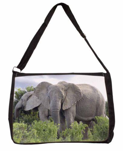 AE-11SB African Elephants Large Black Laptop Shoulder Bag School//College