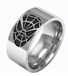 Fine Jewelry Marvel Spiderman Mens Stainless Steel Ring S59HU8VT6f