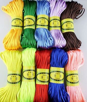 20m Chinese Knot Satin Nylon Braided Cord Macrame Beading Rattail Cords 3mm