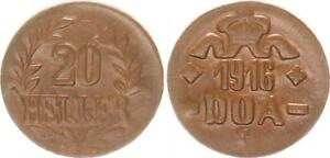 Colonies German East Africa Doa 20 Heller J.726 C Bronze Extremely Fine