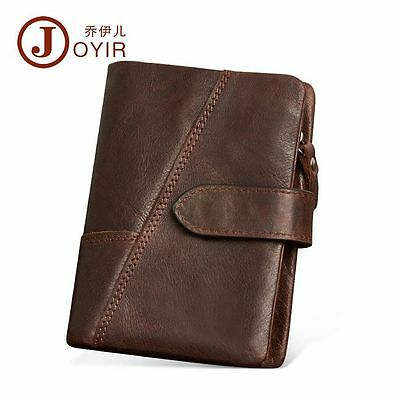 Men Real Leather Vintage Tactical Short Money Card Coin Wallet Billfold Clutch