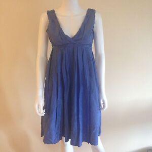 GAP-Women-039-s-Blue-Sleeveless-Dress-Surplice-Empire-Waist-Cotton-Silk-Blend-Sz-6