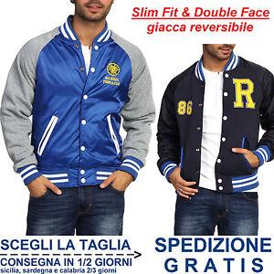 Giubbino-College-da-Uomo-Giacca-Slim-Fit-Blu-Grigio-Moda-Double-Face-Reversibile