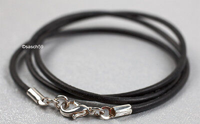 Lederkette nach MASS 3mm Lederband Leder Halskette Lederhalsband schwarz 40cm ES
