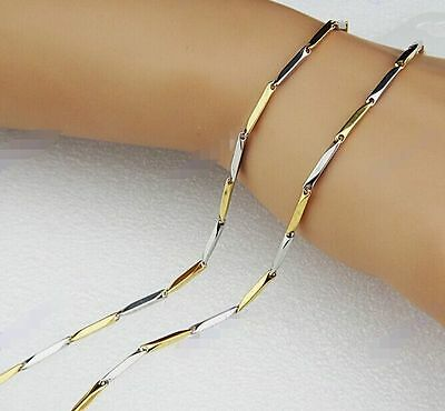 """thin chain for women silver gold tone 316l stainless steel shinny necklace 19.6"""""""