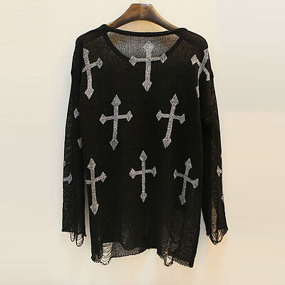 Oversized Gothic Star Cross Floral Distressed Frayed Jumper Hole Knited Sweater