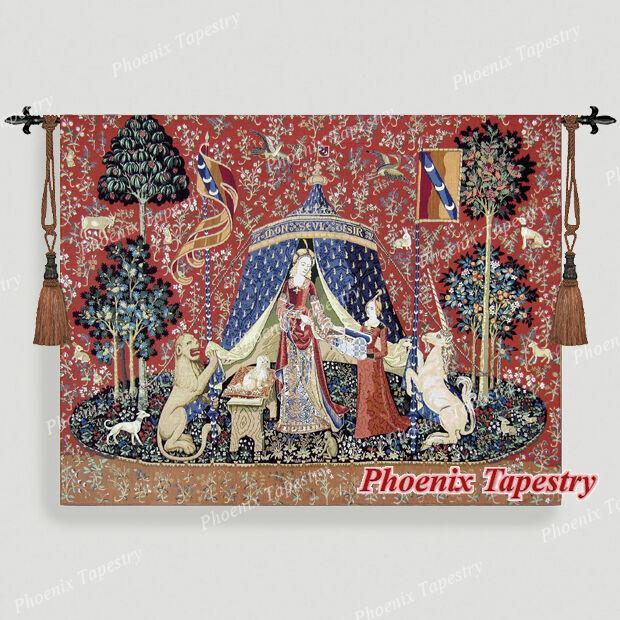 140x165 Wandteppich Wandbehang  DIE DAME MIT DEM EINHORN - A mon seul désir