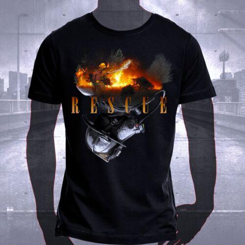 T-Shirt Shirt Baumwolle Feuerwehrmann Feuerwehr Waldbrand Helm Löschen Rescue