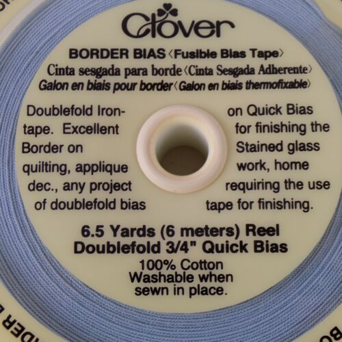 "Clover Baby Blue Fusible Bias Tape 6.5 yards Doublefold 3//4/"" Quick Bias Cotton"