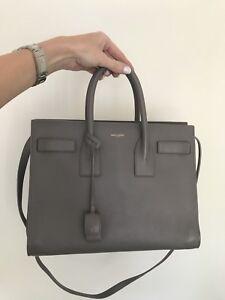 12d57e1101 Yves Saint Laurent Sac De Jour medium gray grsoft leather bag  Rtl ...